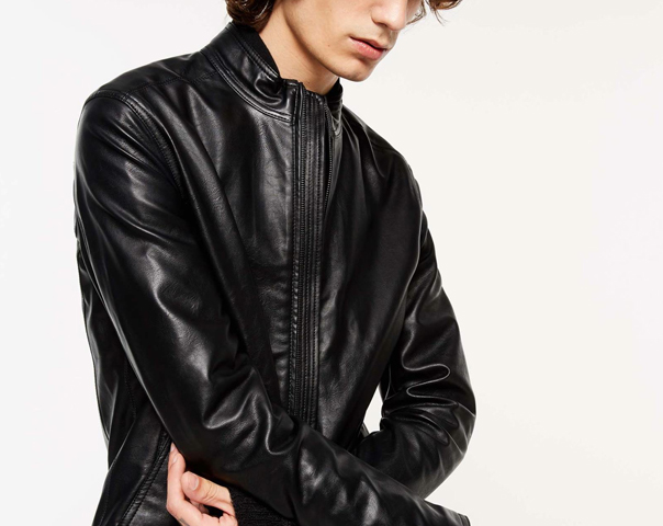 Biker jacket in imitation nappa leather