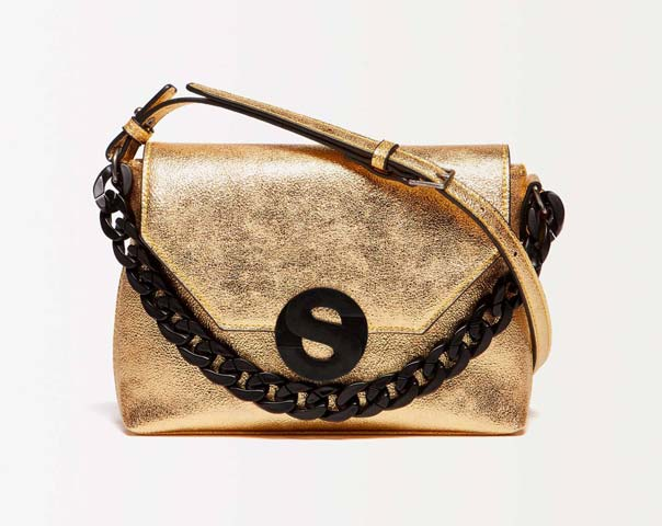 Foil crossbody bag with chain