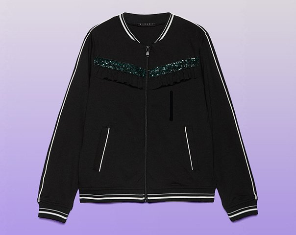 Sweatshirt with sequins and ruffles