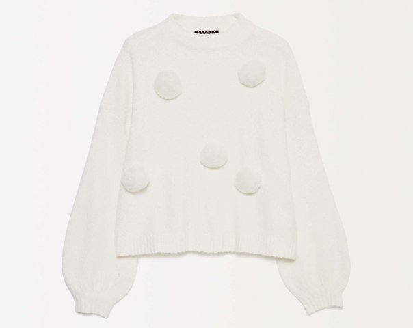 Sweater with pom pom
