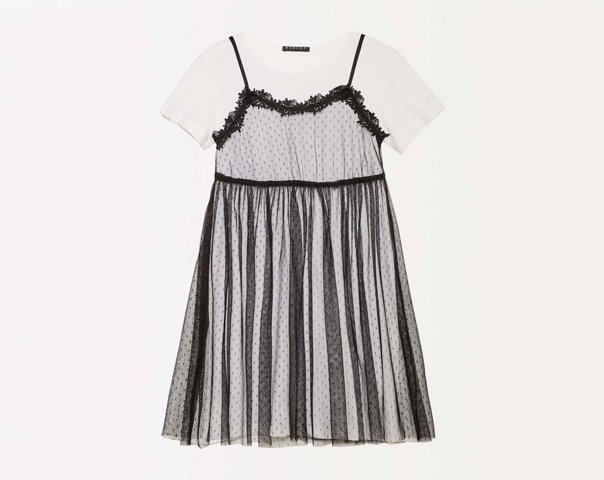 Overlapping dress in plumetis tulle
